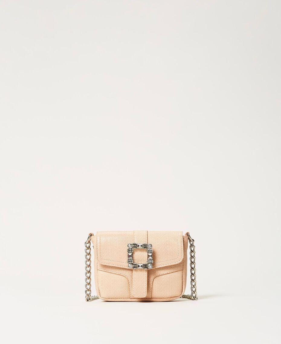 "Small Rebel shoulder bag with jewel buckle ""Nude"" Beige Woman 202TB7140-03"