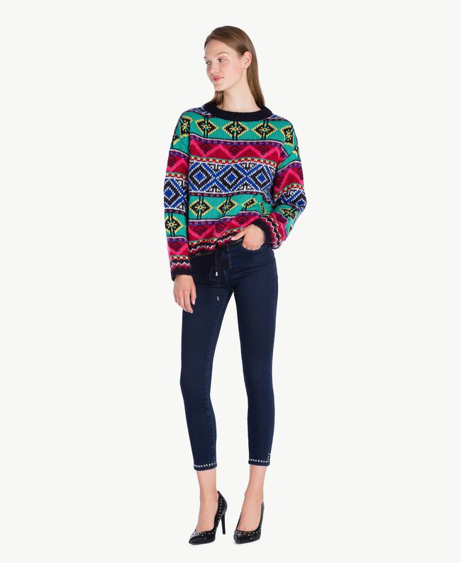 Oversized jacquard jumper Multicolour Cherry Red / Black YA73AB-01