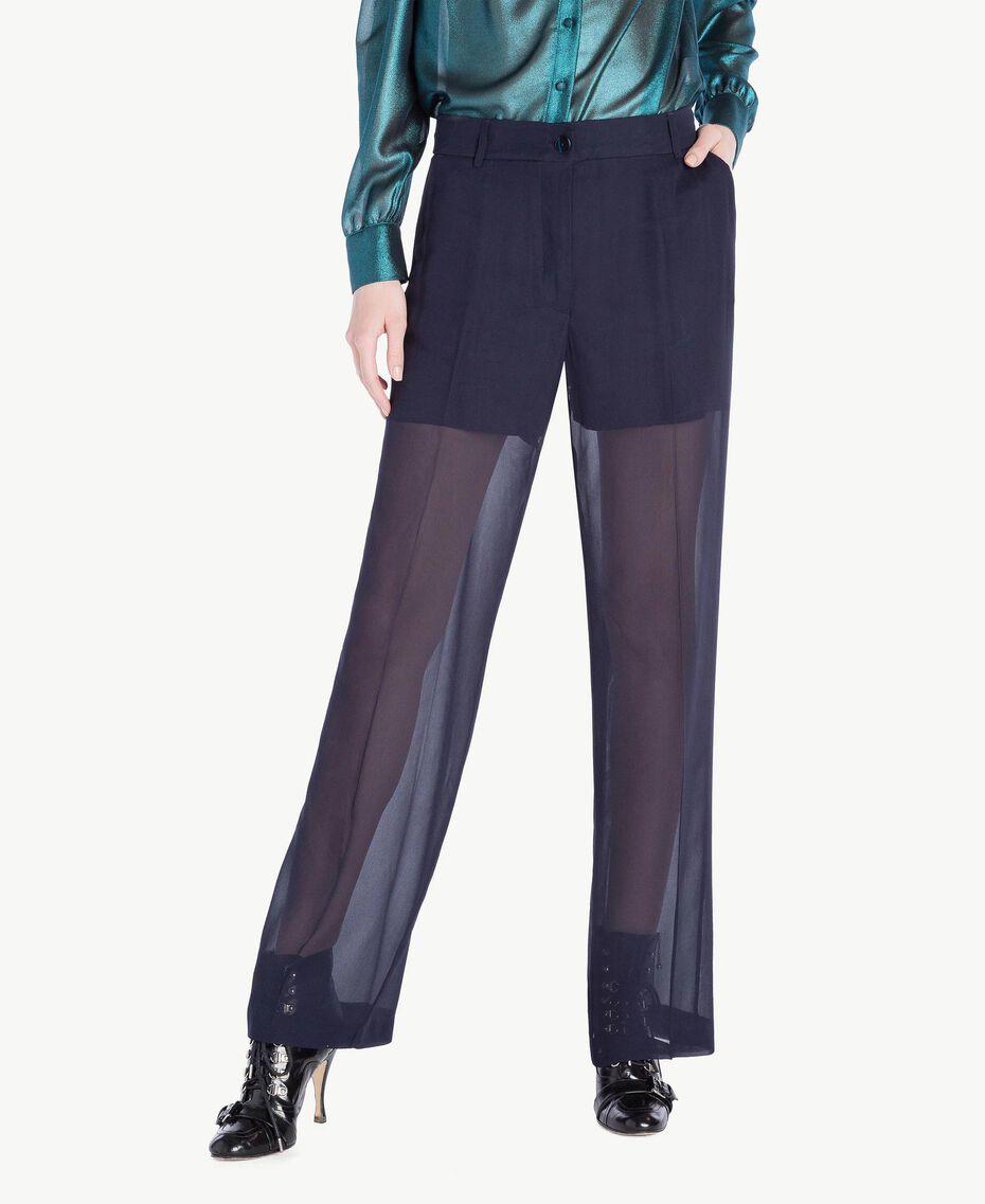 Pantalon cigarette Bleu Foncé Femme PS823A-01
