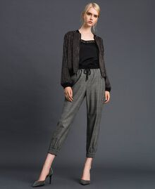 Glen plaid jogging trousers Lurex Dark Grey Wales Design Woman 192TT2441-01