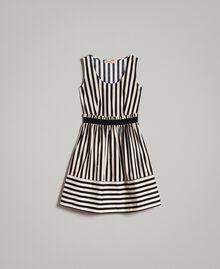 "Robe en popeline à rayures Imprimé Rayures Noir / Beige ""Pâte d'Amande"" Femme 191TT2281-0S"