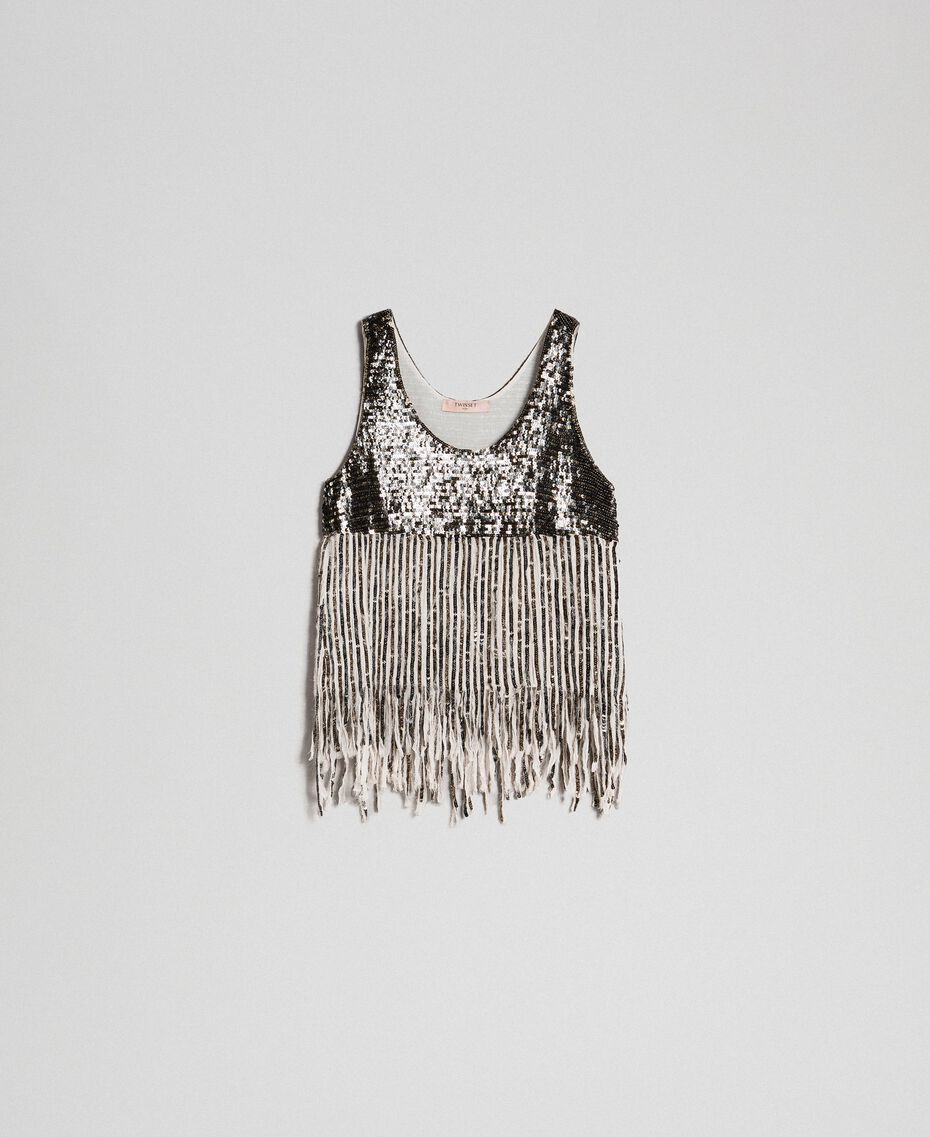 Georgette top with sequins and fringes Dark Gold Sequin Embroidery Woman 192TT2480-0S