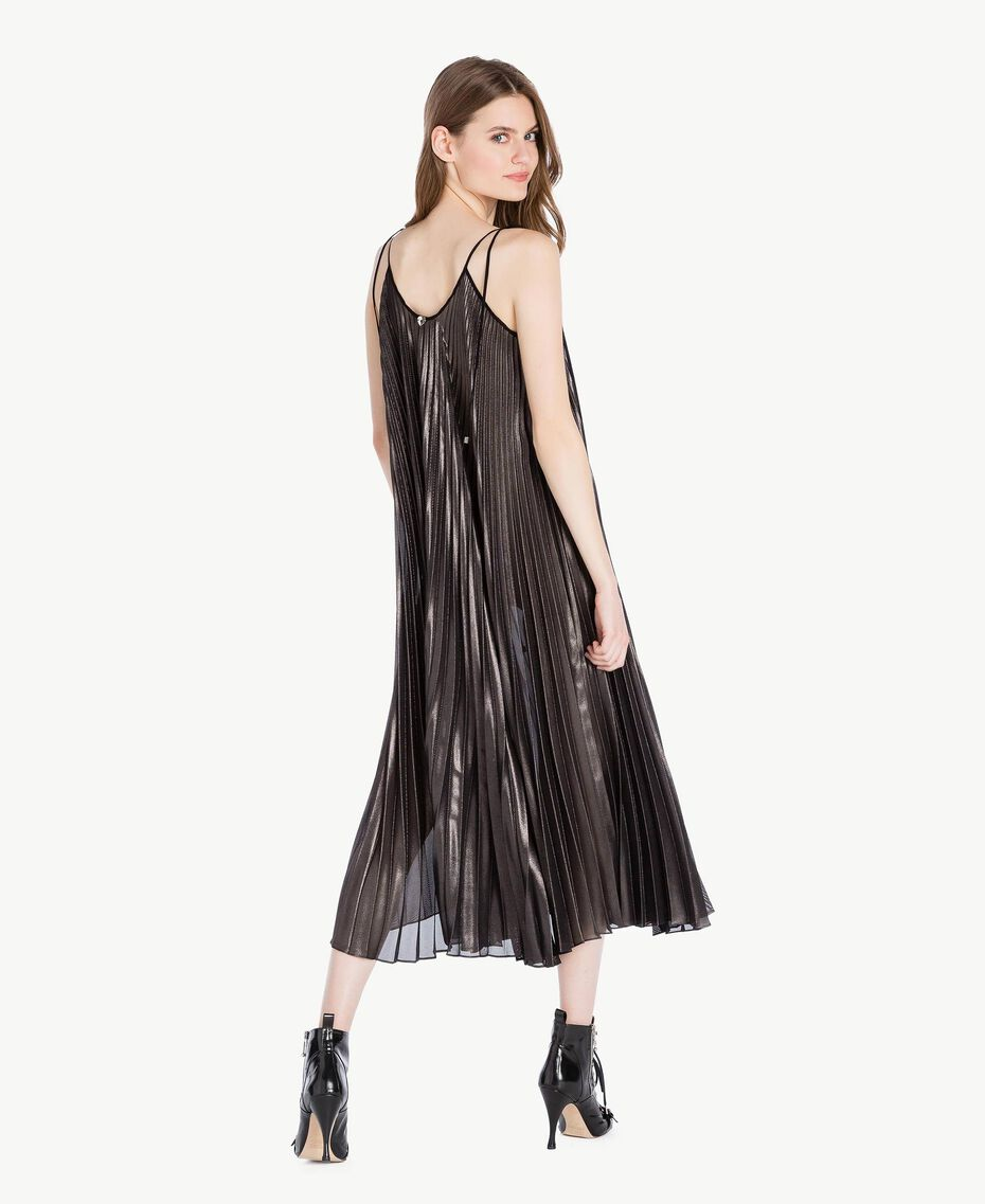 Robe longue plissée Noir «Canon de Fusil» Métallisé Femme PS82QP-03