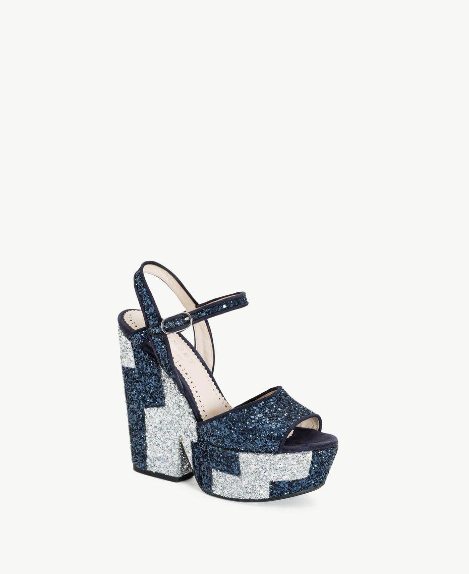TWINSET Glitter sandals Two-tone Dark Blue / Glitter Silver Woman CS8PL1-02