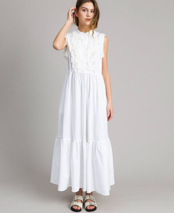 Poplin long dress with ruches