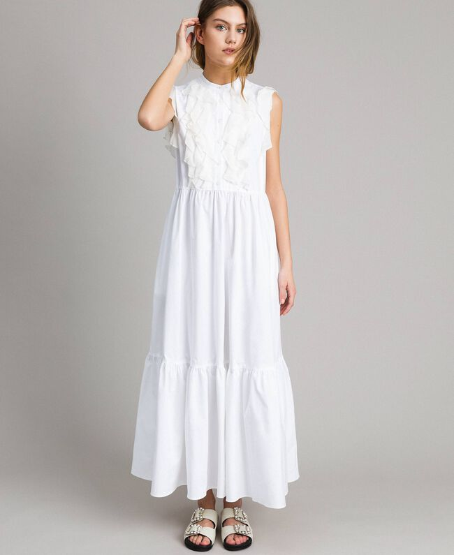 Poplin long dress with ruches White Woman 191TT2262-01
