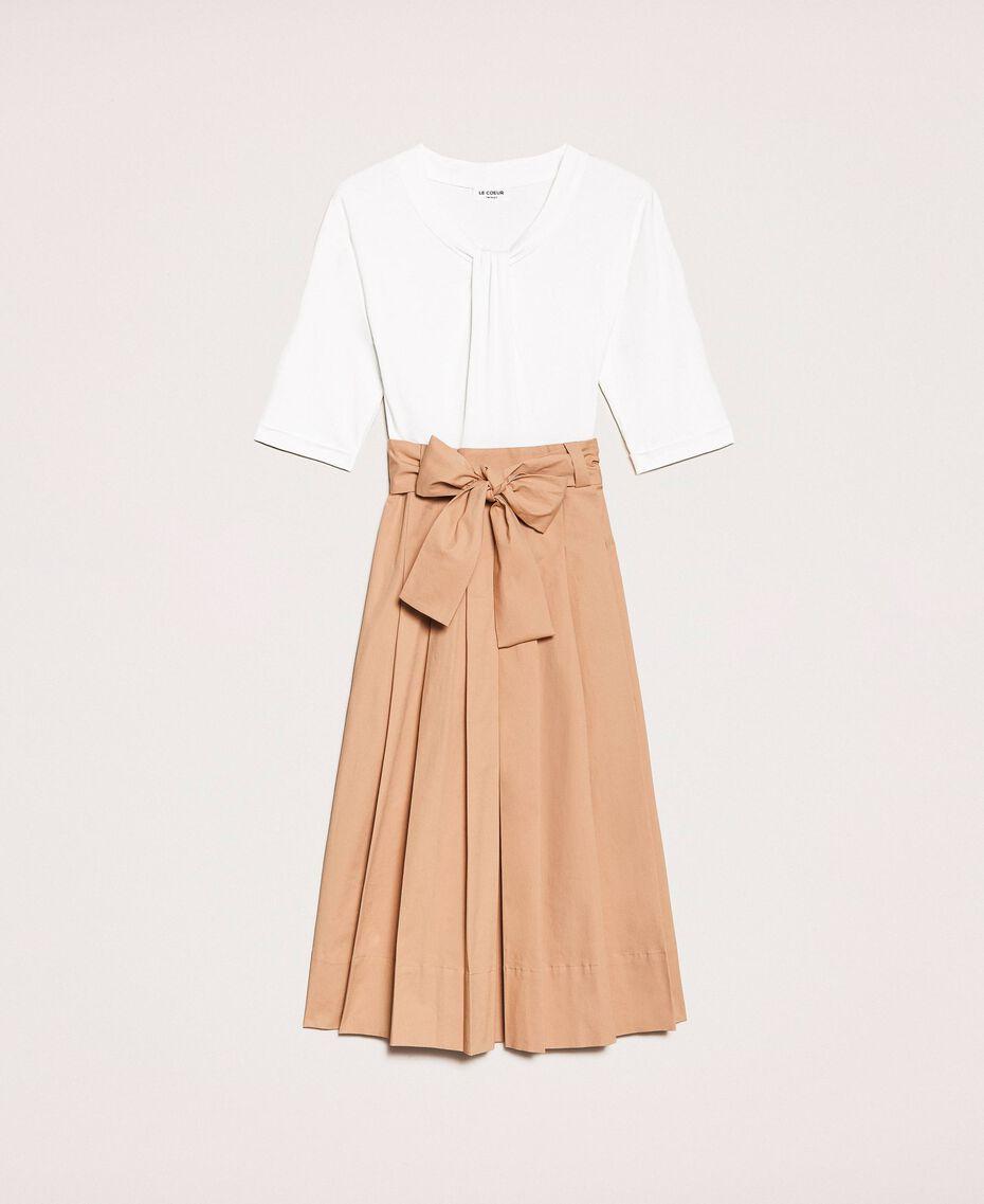 Robe mi-longue avec jupe en popeline Bicolore Blanc Optique / Marron Clair Femme 201ST2023-0S