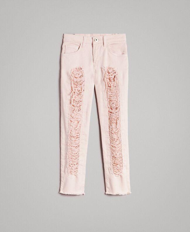 Pantalon skinny en bull avec détails déchirés Rose En fleur Enfant 191GJ2061-01