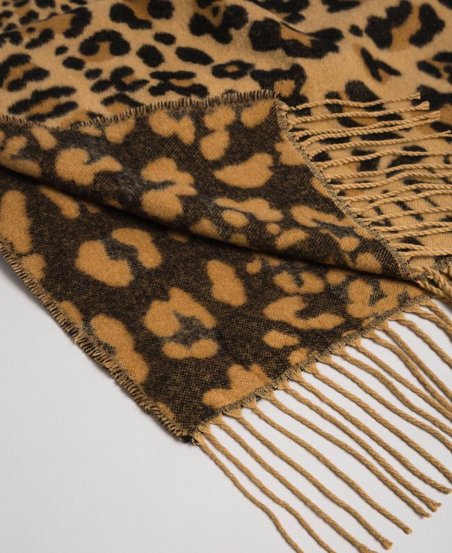 Jacquard scarf with fringes and logo Maxi Animal Print Woman 192TO5381-03