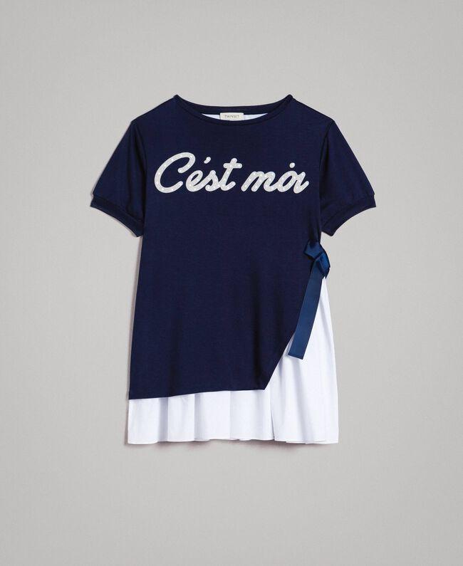 Milan stitch dress with poplin flounce Two-tone Indigo / Optical White Child 191GJ2211-01