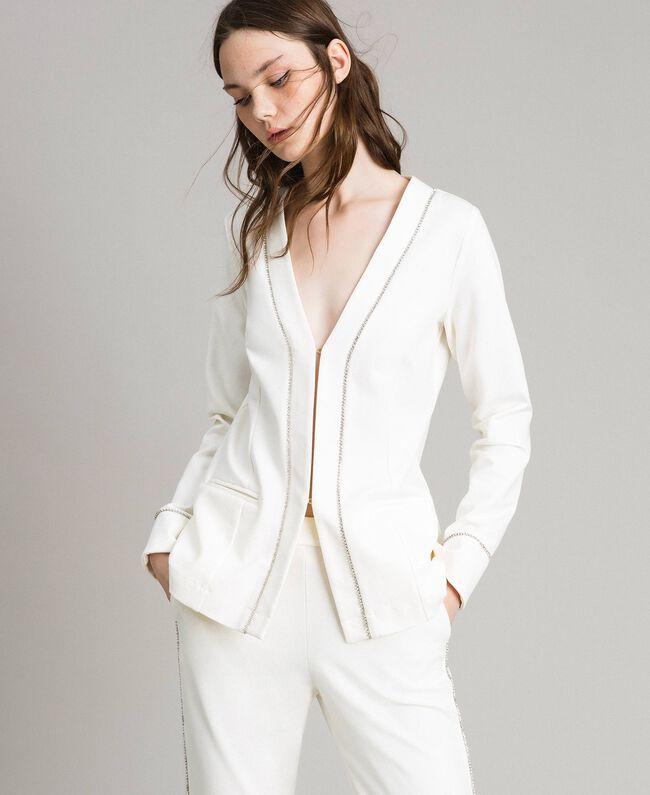 rivenditore all'ingrosso efa33 8b540 Giacca blazer con strass Donna, Bianco | TWINSET Milano