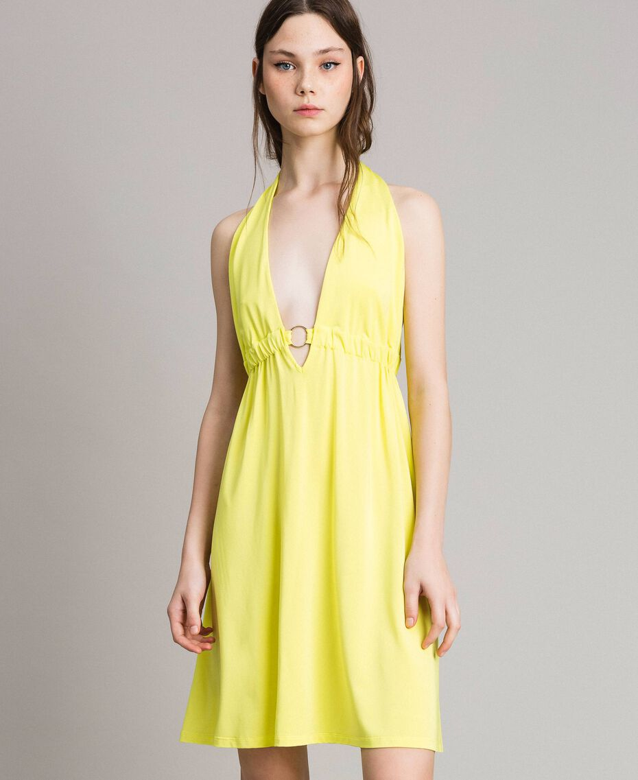"Jersey crepe dress with loop ""Lemon Juice"" Yellow Woman 191LB22CC-02"