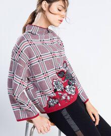 "Maxi floral print and check jacquard jumper ""Reddish"" Red Tartan Print Woman LA8NBB-02"