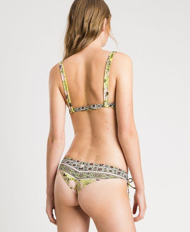 "Bikini mit Foulard-Print und Strass Motiv ""Lemon Juice"" Gelb Schal Frau 191LBMH33-03"