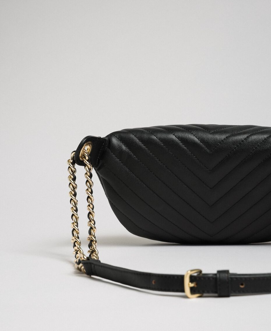 Quilted leather belt bag with butterfly Black Woman 192TA7104-02