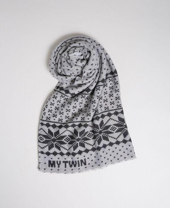 Jacquard effect print scarf