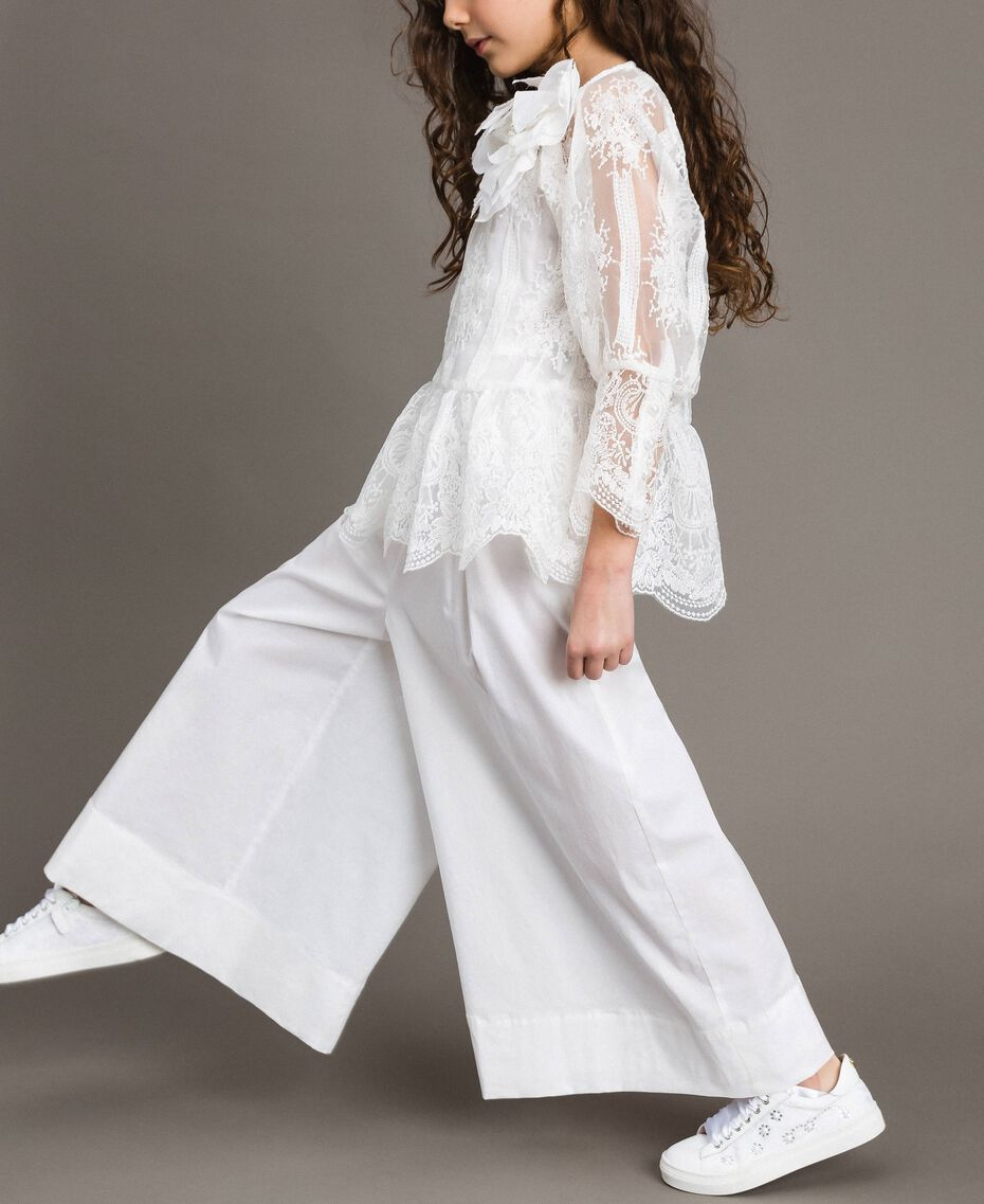 Poplin jumpsuit and organza blouse White Child 191GJ2QB0-0S
