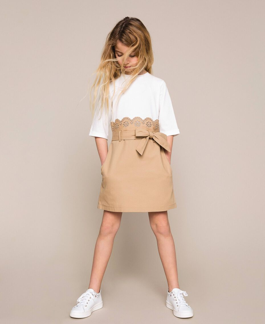 """Canvas dress with broderie anglaise Two-tone Off White / """"Dune"""" Beige Child 201GJ2152-01"""