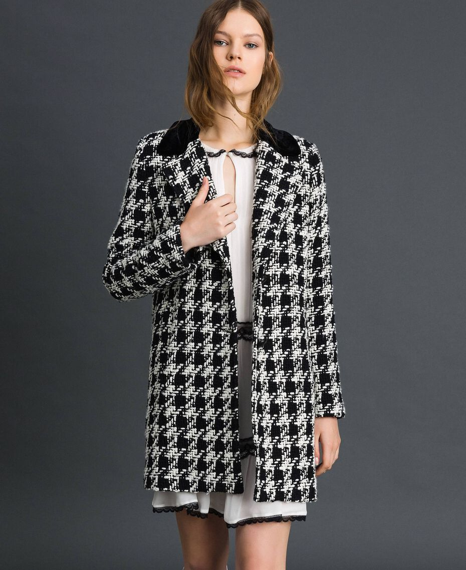 Houndstooth bouclé coat White / Black Houndstooth Woman 192TP2630-02