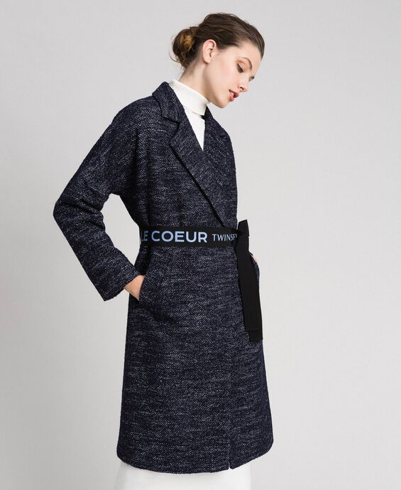 Chevron wool cloth coat with belt