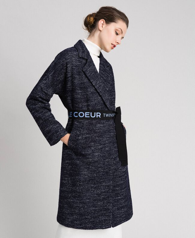Chevron wool cloth coat with belt Black Jacquard / Night Blue Woman 192ST2100-01
