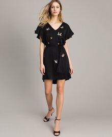 Robe en satin avec broderie papillons Noir Femme 191TT2114-05
