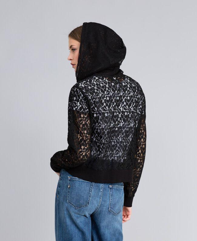 Lace sweatshirt with hood Black Woman JA82GA-04