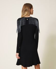 Ribbed knit dress with fringes Black Woman 202TT3211-03