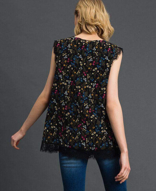 Top avec imprimé floral et dentelle Imprimé Petites Fleurs Noir Femme 192MP222A-03