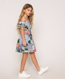 "Linen blend printed dress ""Hawaii"" Blue Print Child 201GJ2342-04"
