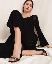 Sandalette mit Stilettoabsatz und Chatons Schwarz Frau 201TCP090-0S