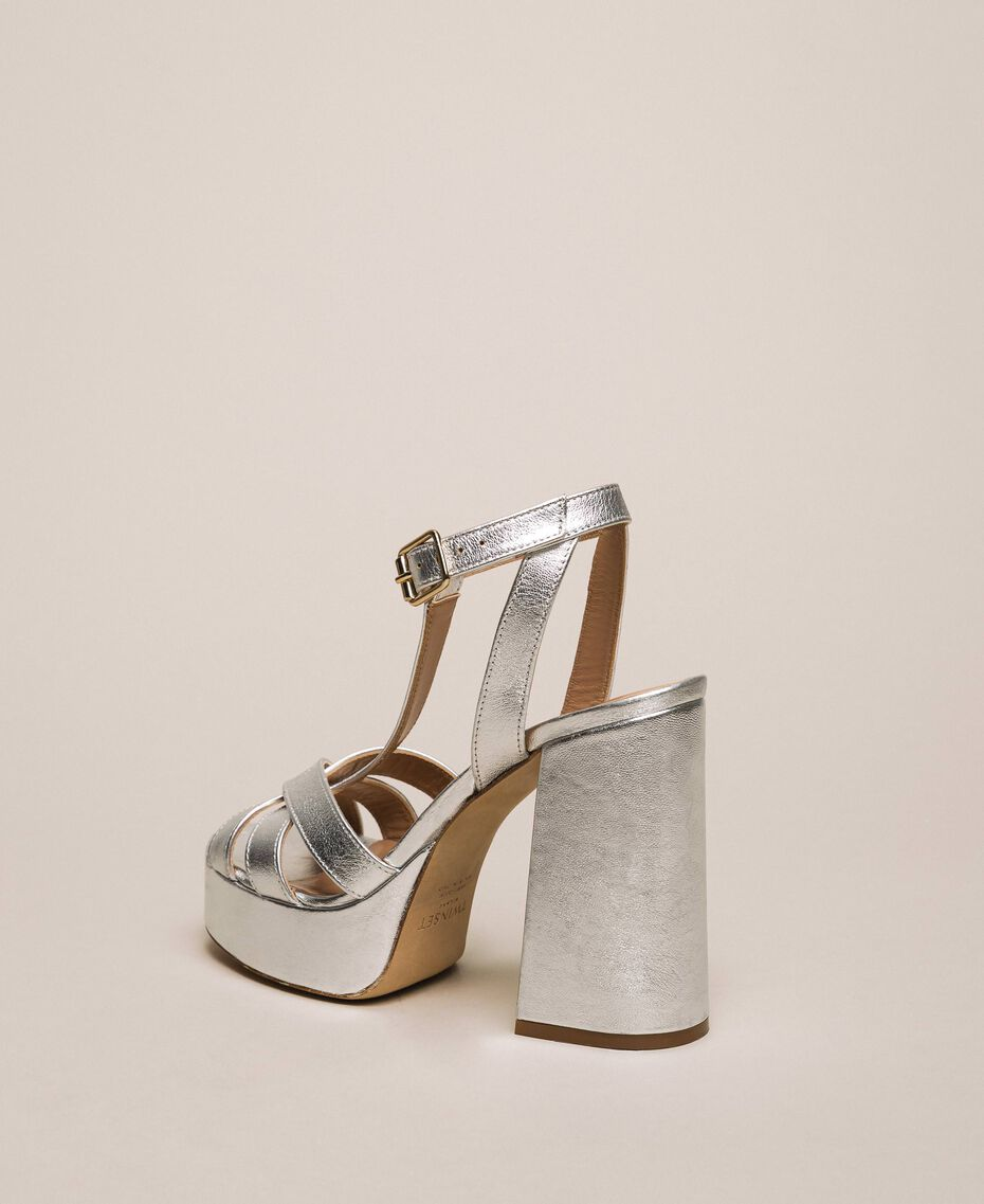 Laminated leather T-bar sandals Laminated Silver Grey Woman 201TCP074-03