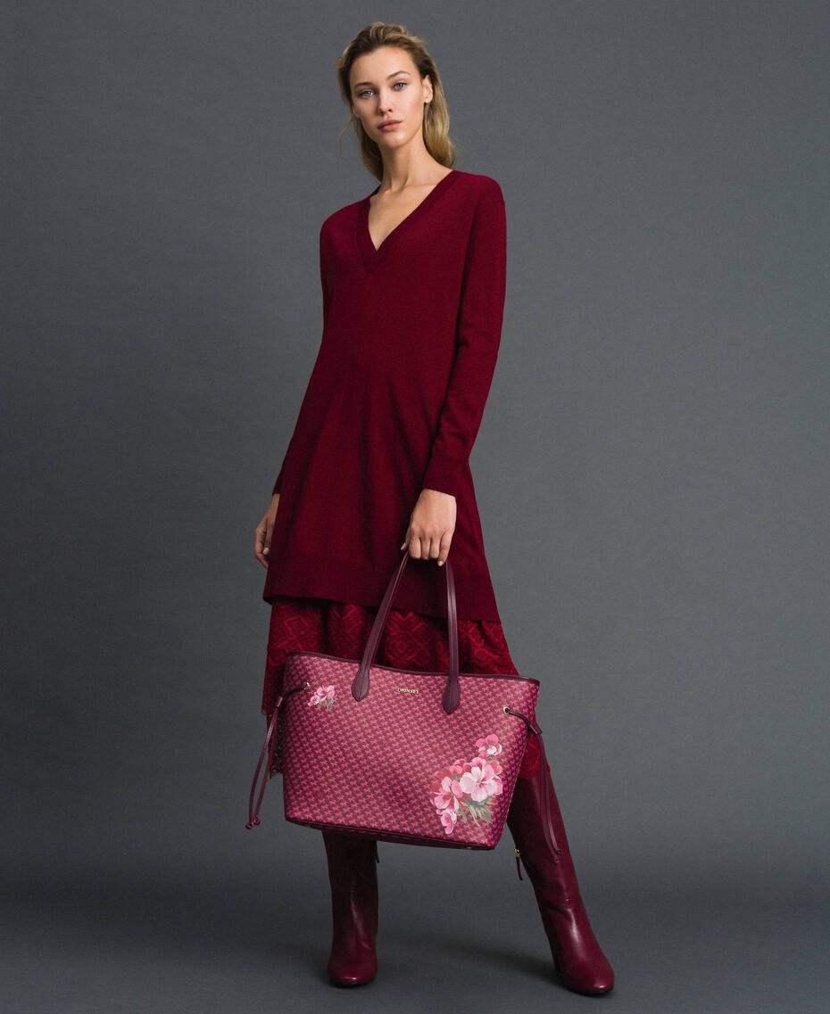 Printed shopper with clutch Beet Red Butterfly Floral Print Woman 192TA7017-0S