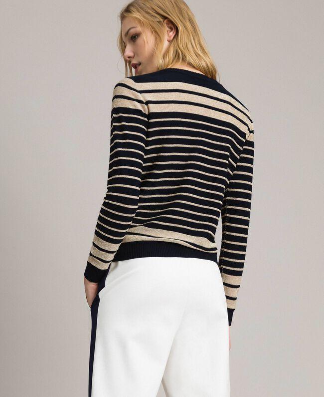 Viscose and lurex striped mandarin collar top Light Gold Lurex / Deep Blue Striping Woman 191TP3232-03