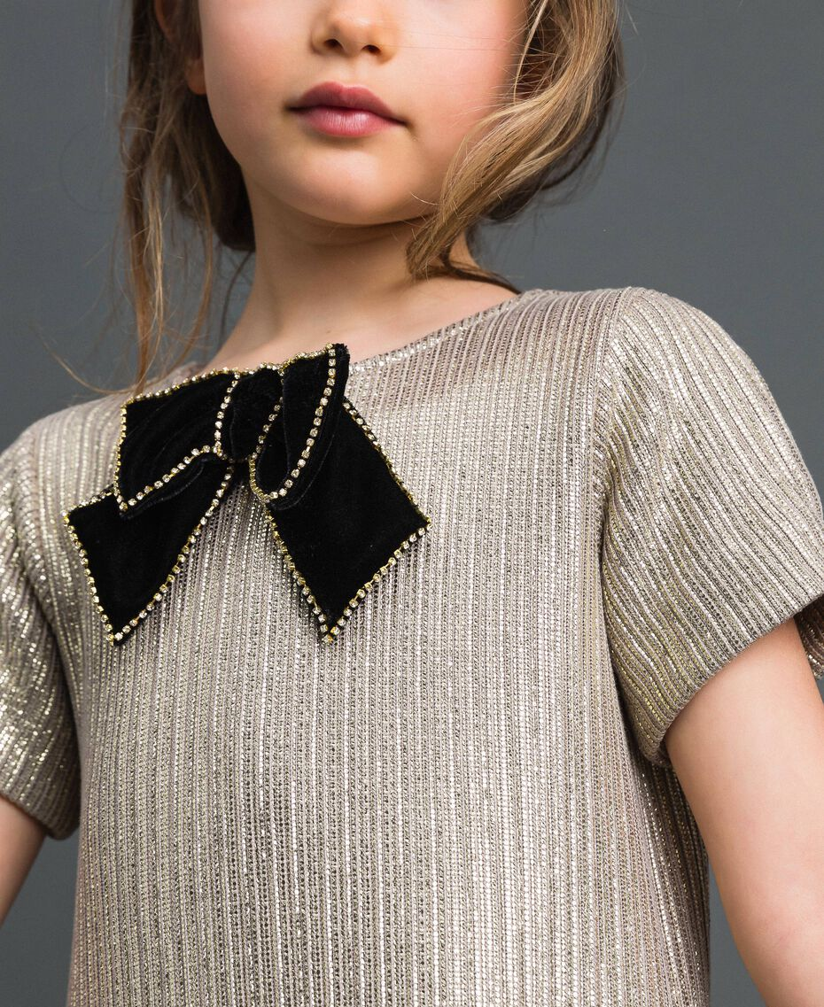 Laminated knit dress with brooch Pale Gold Yellow Child 192GJ2364-05