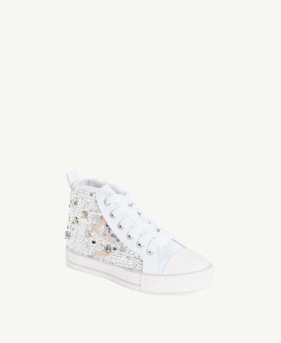Sneaker mit Pailletten Silber / Nickel Kind HS88GA-02