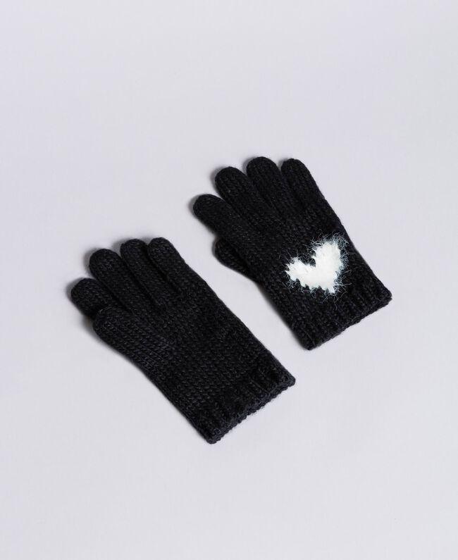 Gants en maille avec cœur Bicolore Blanc Neige/ Noir Femme AA8P5C-01