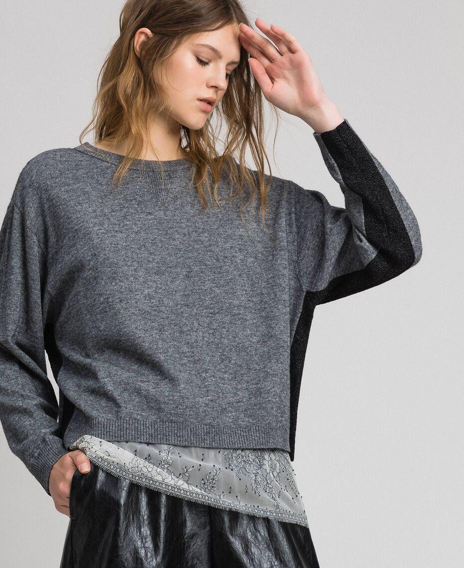 Boxy jumper with slip top Medium Gray Mélange Woman 192MP3101-02