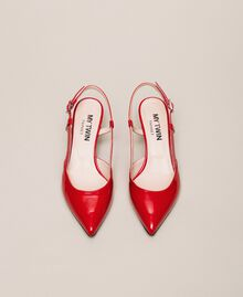 Patent leather slingback court shoes Venetian Red Woman 201MCP01C-04