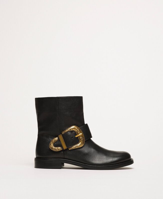 Leather biker boots with maxi buckle Black Woman 201TCP058-01