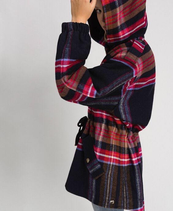 Chequered wool blend cloth parka coat