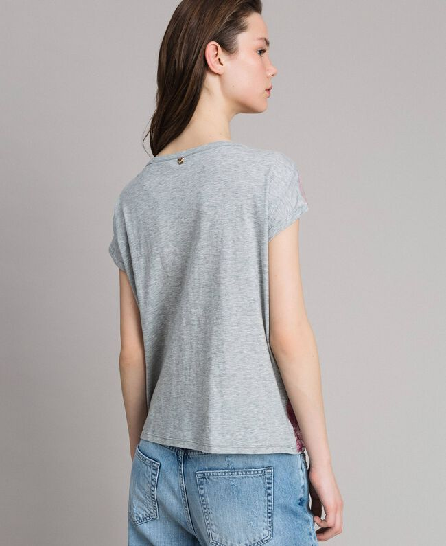 T-shirt with fading sequins Two-tone Melange Light Grey / Hydrangea Pink Woman 191MP2062-03