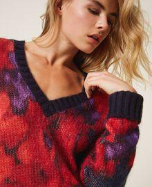 Maxi pull en laine et mohair floral Imprimé Grande Fleur Violet «Vibrant» / Rouge Vénitien Femme 202TT3300-05