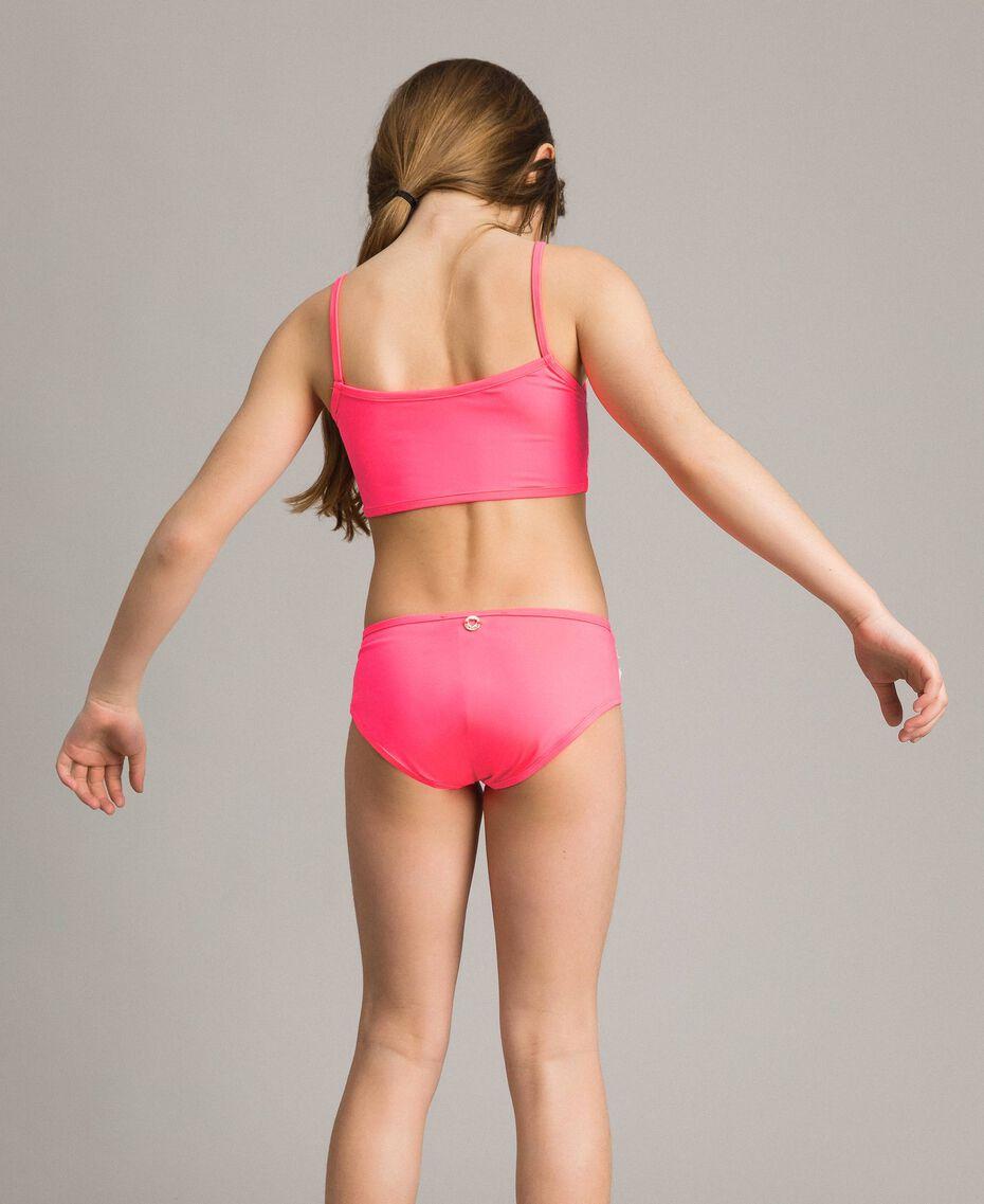 Bikini mit Makramee-Spitzenstickereien Zweifarbig Neonpink / Optisch Weiß Kind 191GJM903-02