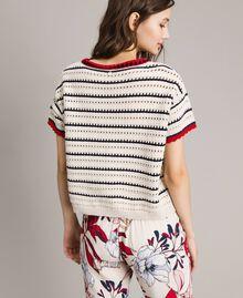 """Pullover mit Durchbruch-Streifenmuster Multicolour Ecru / """"Poppy"""" Rot / Blue Shadow Frau 191ST3092-03"""