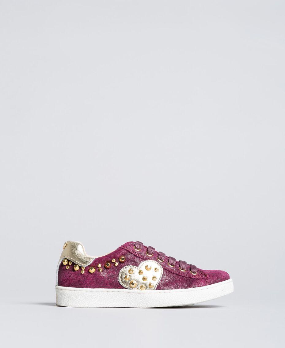 "Sneakers aus Leder in Glanzoptik ""Sweet Grape""-Violett Kind HA88EN-01"