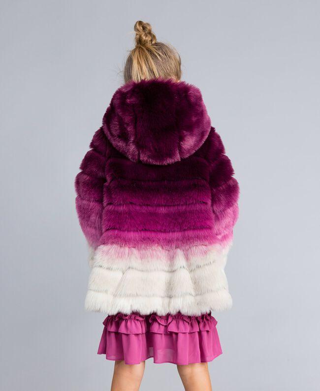 Veste réversible en fausse fourrure Imprimé Dégradé Violet Raisin/ Rose Bougainvillier Enfant GA82AR-03