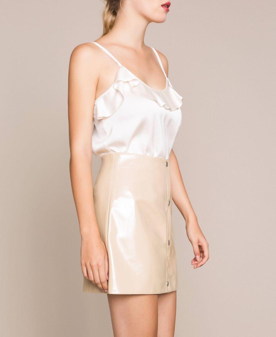 Glossy faux leather mini skirt Vanilla White Woman 201MP2240-02