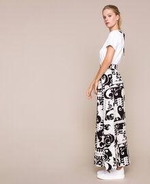 Jupe longue en toile imprimée Imprimé Liberty Blanc / Noir Femme 201ST213A-05