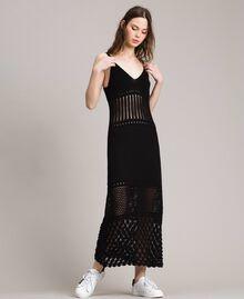 Robe longue en maille ajourée Noir Femme 191LB3GAA-02